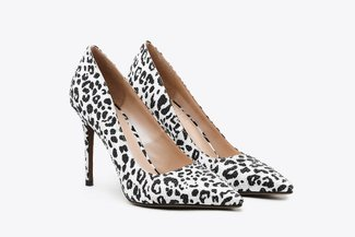 8759-5 White Crystal Embellished Leopard Print Leather Pointy Toe High Heels