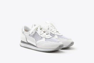 8868-1 White Athleisure Metallic Mesh Leather Sneakers