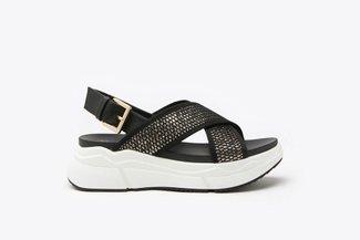 969-1 Gold Athleisure Metallic Mesh  Chunky Flatform Sandals