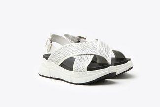 969-1 White Athleisure Metallic Mesh  Chunky Flatform Sandals