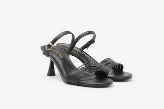 LT208-1 Black Multi Strappy Mid-Heel Leather Sandals