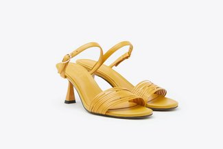 LT208-1 Yellow Multi Strappy Mid-Heel Leather Sandals