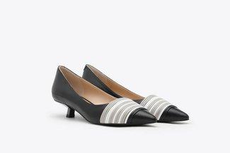 LT233-32 Black Tri-Coloured Leather Kitten Heel Pumps