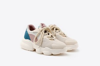019-8185 Purple Chunky Leather Mesh Sneakers