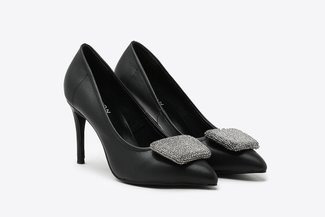 6162-20 Black Crystal Square Ornament Leather High Heels