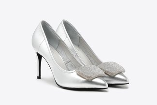 6162-20 Silver Crystal Square Ornament Leather High Heels