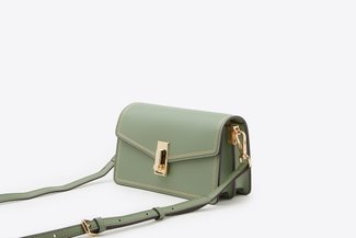 87188-1 Green Envelope Cross-Body Mini Leather Bag