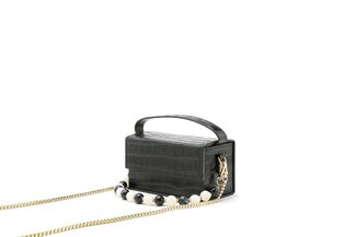 10681 Black Ornate Multi-Wear Structured Box Bag