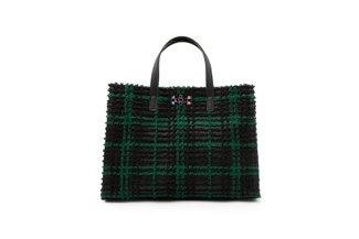 1835 Green Fleece Plaid Structured Bag