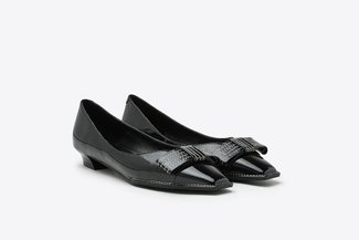1920-3 Black Stitched Ribbon Bow Patent Leather Loafer Low Heels