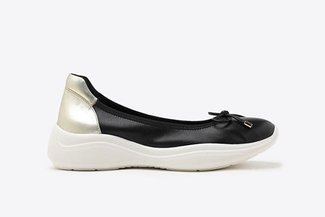 3501-1 Black Athleisure-inspired Ballerina Leather Flats