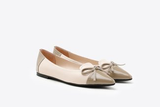 7533-1 Khaki Two-Tone Bow Patent Pointy Leather Flats