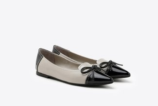 7533-1 Black Two-Tone Bow Patent Pointy Leather Flats
