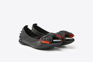 833-35 Black Oversized Bow-embellshed Pointy Leather Flats