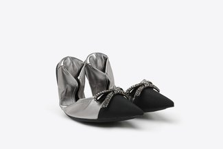 9550-19 Pewter Crystal Bow Leather Pointy Fordable Flats
