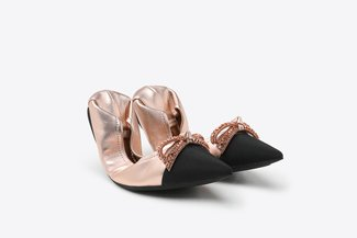9550-19 Champagne Crystal Bow Leather Pointy Foldable Flats
