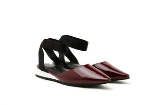 1533-1 Maroon Ankle Wrapped Patent Pointed Flats