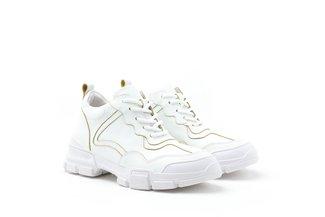1858N-08B White Iridescent Trimmings Chunky Platform Sneaker