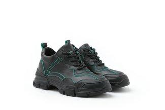 1858N-08B Black Iridescent Trimmings Chunky Platform Sneakers