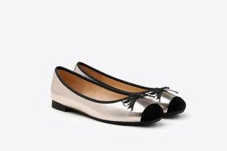 1887-2 Champagne Metallic Square Toe Bow Leather Flats
