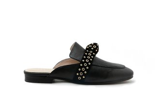 6936-58 Black Eyelet Strap Knotted Leather Mules