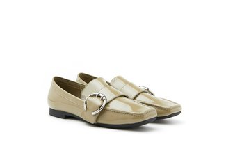 9088-1 Khaki Classic Buckle Leather Loafers