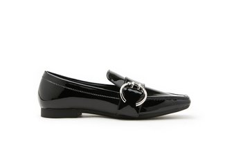 9088-1 Black Classic Buckle Leather Loafers