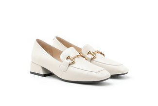 9175-1 Beige Classic Metal Buckle Leather Loafers