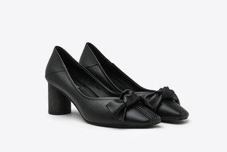 LT1928-10 Black Knotted Ribbon Leather Square Toe Pumps