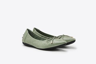 073-1 Green Micro Studs Bow  Pointy Leather  Flats