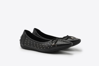 073-1 Black Micro Studs Bow  Pointy Leather  Flats