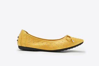 073-1 Yellow Micro Studs Bow  Pointy Leather  Flats
