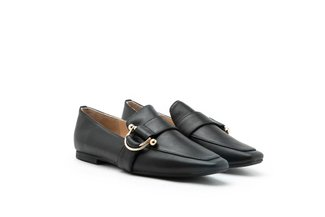 1215-11 Black Ring Detailed Square Toe Leather Loafers