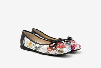 1319-6 Black Floral Bow Square Toe Leather Flats