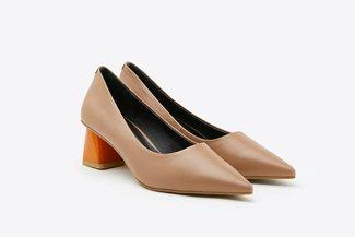 2668-1 Khaki Glossy Wood Effect Block Heels