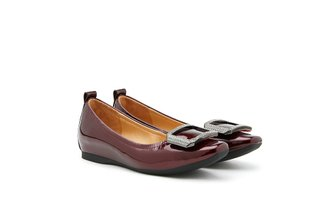 780-1 Wine Oversized Embellished Buckle Patent Flats