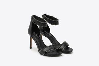 8907-10 Black Diamante Embellished Wrap Around Leather High Heel Sandals