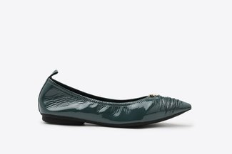 9550-1 Blue Crinkled Pointy Leather Flats