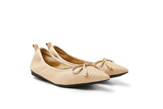 9550-2 Almond Ribbon Tie Leather Pointed Flats