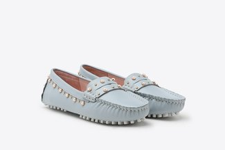 A9-1902 Powder Blue Pearl Embellished Gommino Leather Loafers