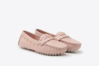 A9-1902 Pink Pearl Embellished Gommino Leather Loafers