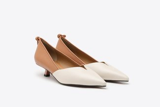 LT233-29 Camel Two-Tone Leather Kitten Heels