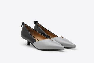 LT233-29 Black Two-Tone Leather Kitten Heels