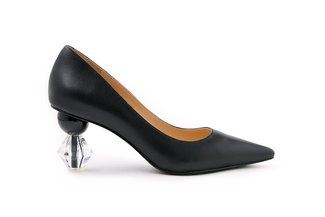 LT882-51 Black Classic Crystal Pointy Leather Heels
