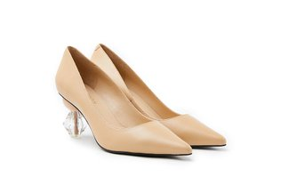 LT882-51 Almond Classic Crystal Pointy Leather Heels