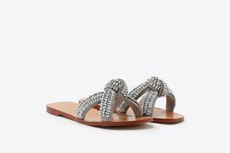 YD638-3 Grey Knotted Diamante Embellished Cross Strap Slides