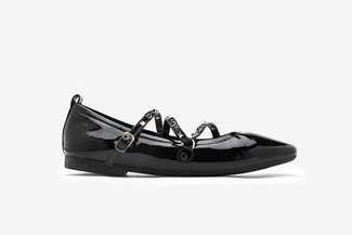 1038-1 Black Gold Studded Strappy Square Toe Leather Ballet Flats