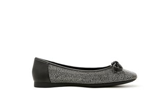 1319-3 Black Sparkling Diamante Square Toe Flats