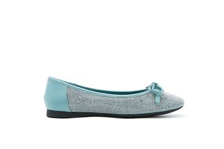 1319-3 Turquoise Sparkling Diamante Square Toe Flats