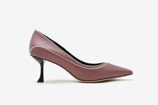 2023-1 Taupe Duo Stitched Leather Pointy High Heels